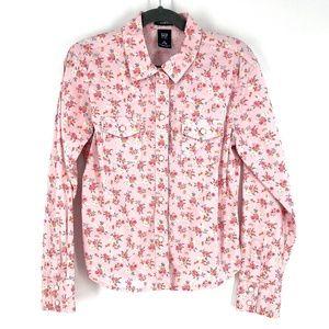Gap kids floral button down long sleeve top M 7/8